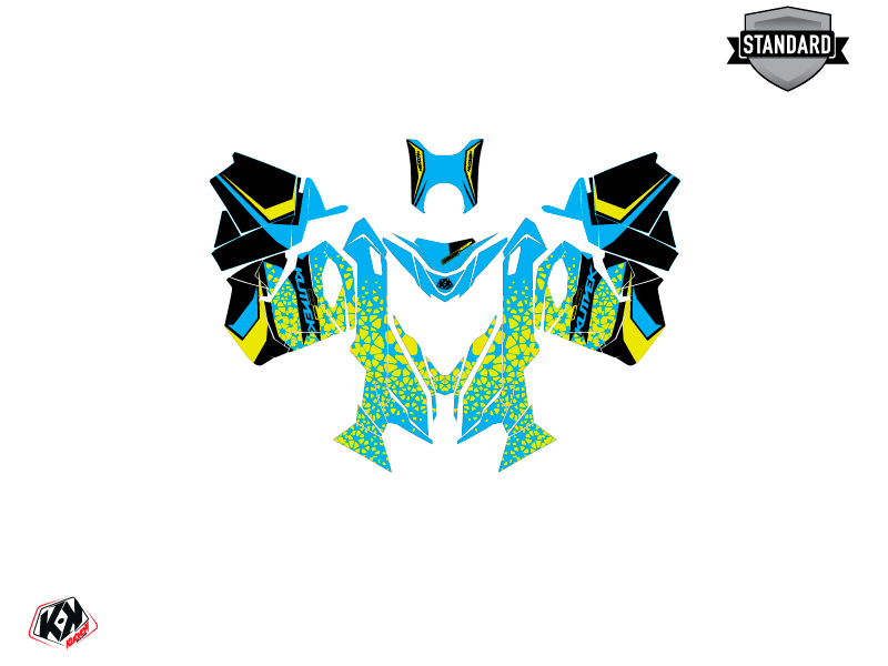 Skidoo REV XS Snowmobile Gage Graphic Kit Blue Yellow