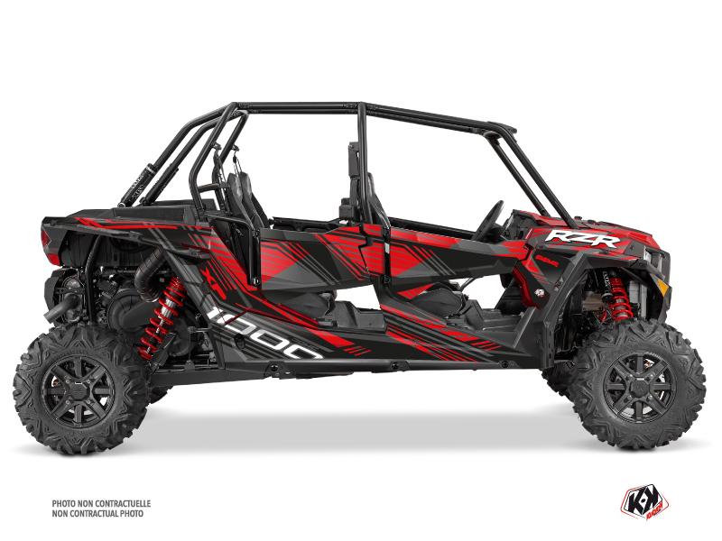 Polaris RZR 1000 4 doors UTV Graphite Graphic Kit Black Red
