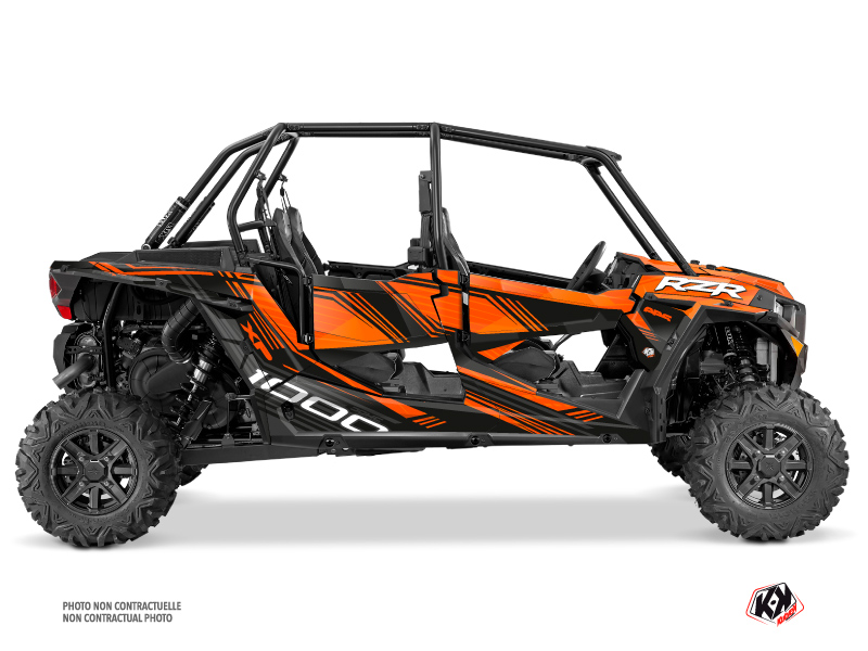 Polaris RZR 1000 4 doors UTV Graphite Graphic Kit Orange