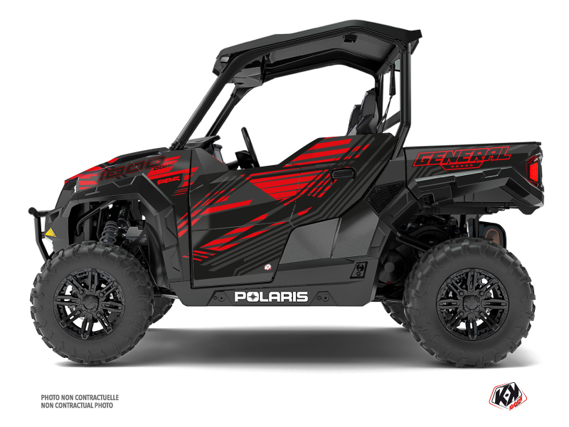 Polaris GENERAL 1000 UTV Graphite Graphic Kit Black Red