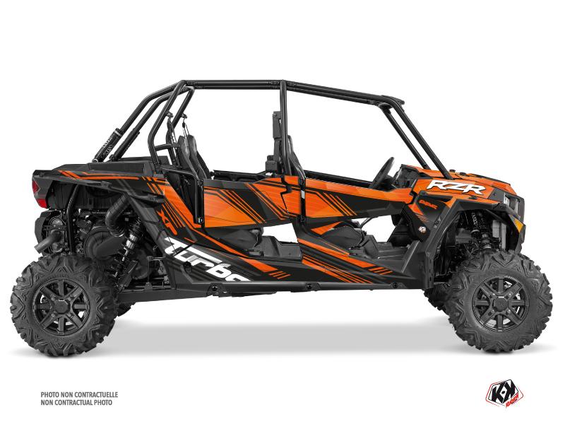 Polaris RZR 1000 Turbo 4 doors UTV Graphite Graphic Kit Orange