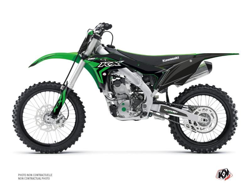 Kawasaki 250 KXF Dirt Bike Halftone Graphic Kit Black Green