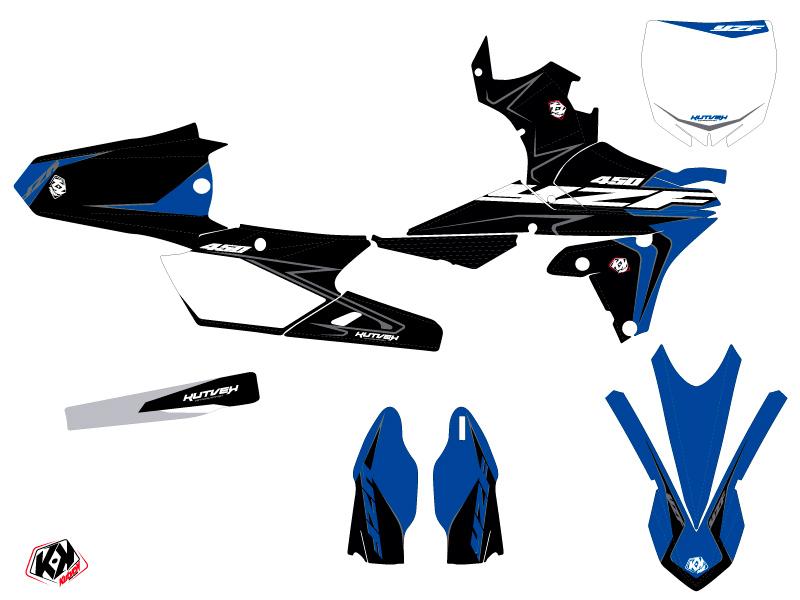 Yamaha 450 YZF Dirt Bike Halftone Graphic Kit Black Blue