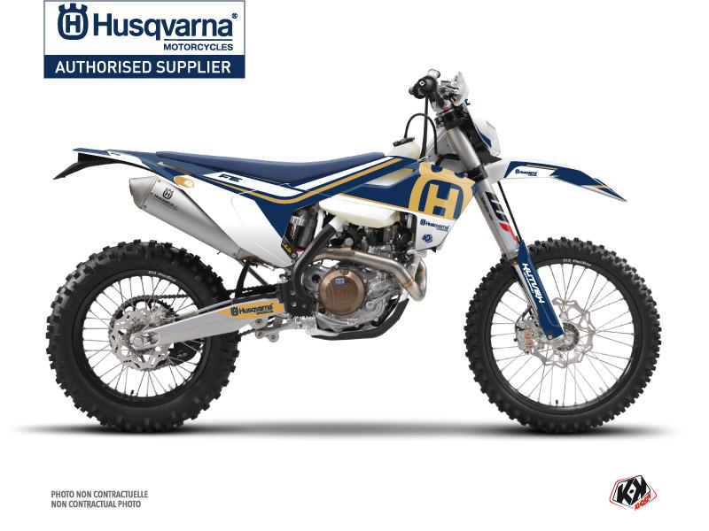 Husqvarna 350 FE Dirt Bike Heritage Graphic Kit Blue