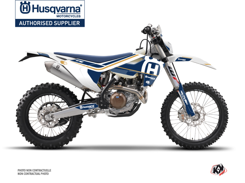 Husqvarna 450 FE Dirt Bike Heritage Graphic Kit White