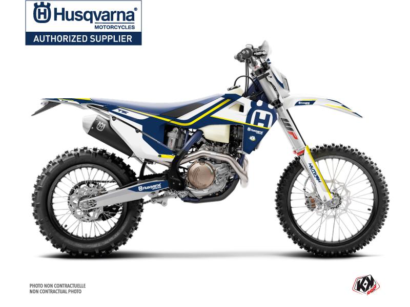 Kit Déco Moto Cross Heritage Husqvarna 250 TE Bleu Blanc