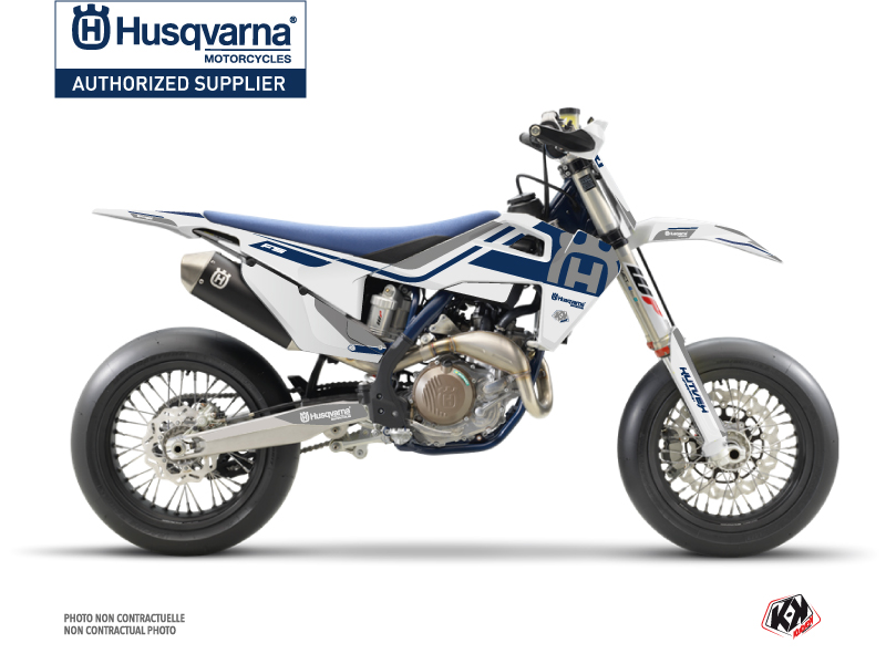 Husqvarna 450 FS Dirt Bike Heritage Graphic Kit White Grey