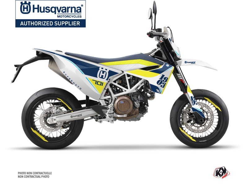 Husqvarna 701 Supermoto Dirt Bike Heyday Graphic Kit Blue Yellow
