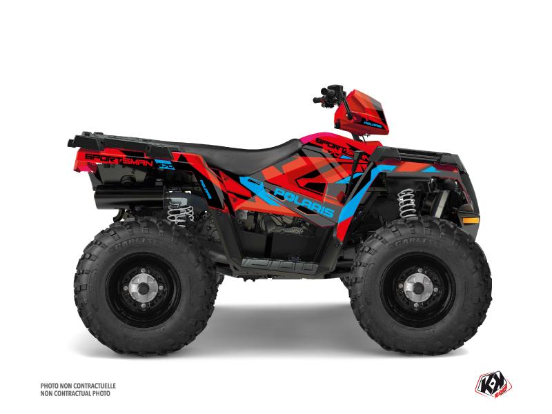 Polaris 570 Sportsman Touring ATV Hidden Graphic Kit Red Blue