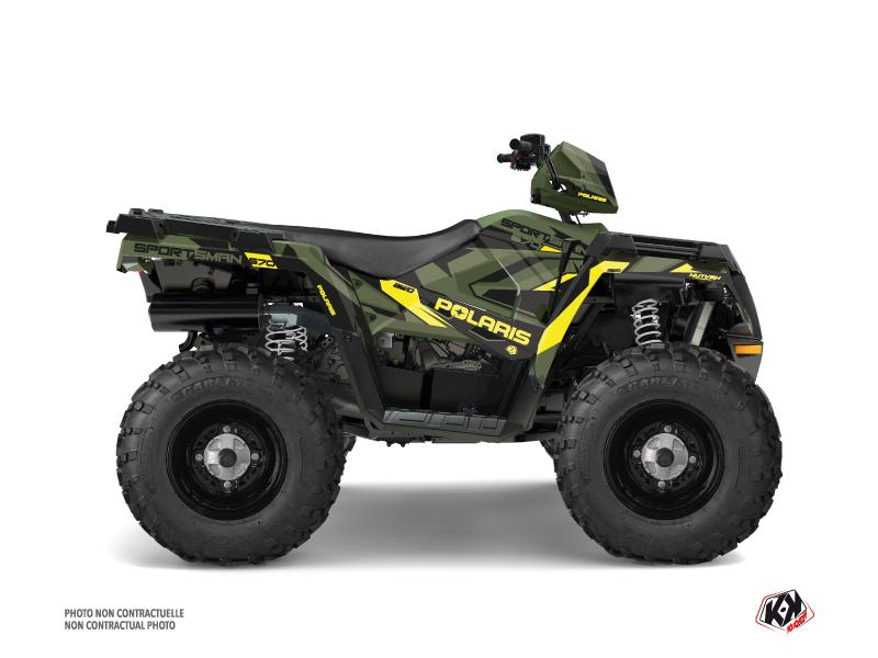 Polaris 570 Sportsman Touring ATV Hidden Graphic Kit Green Yellow