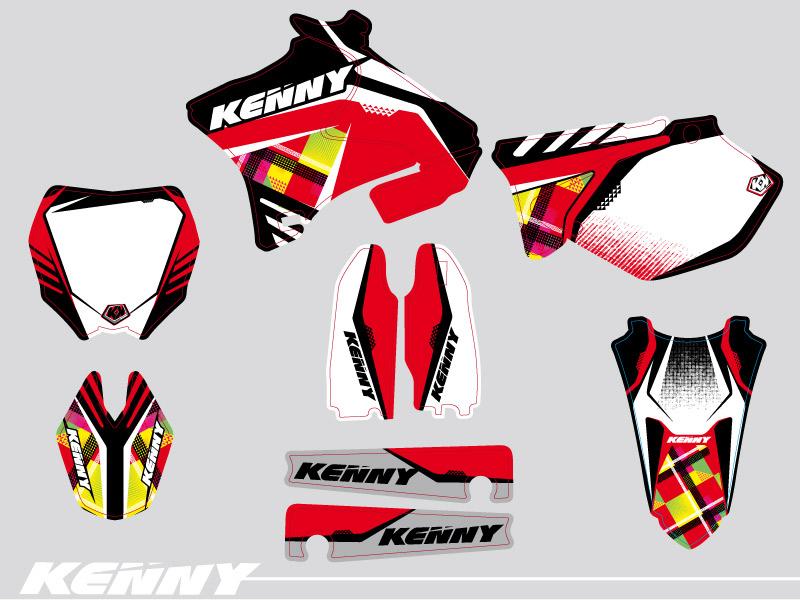 Yamaha 125 YZ Dirt Bike Kenny Graphic Kit Red