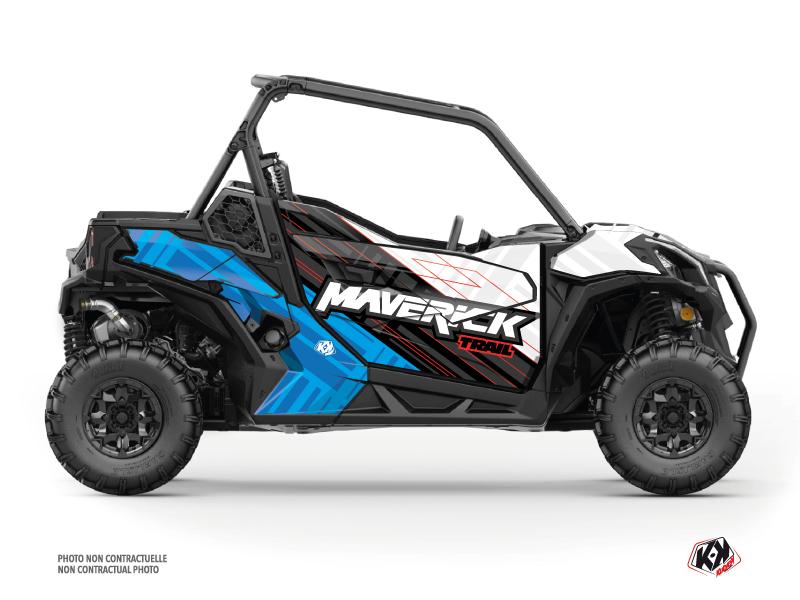 Can Am Maverick Trail With Doors UTV Kinetik Graphic Kit White Blue