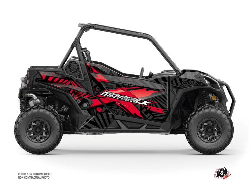 Can Am Maverick Trail With Doors UTV Kollector Graphic Kit Black Red