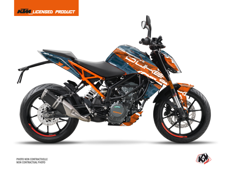 Kit Déco Moto Krav KTM Duke 125 Orange Bleu