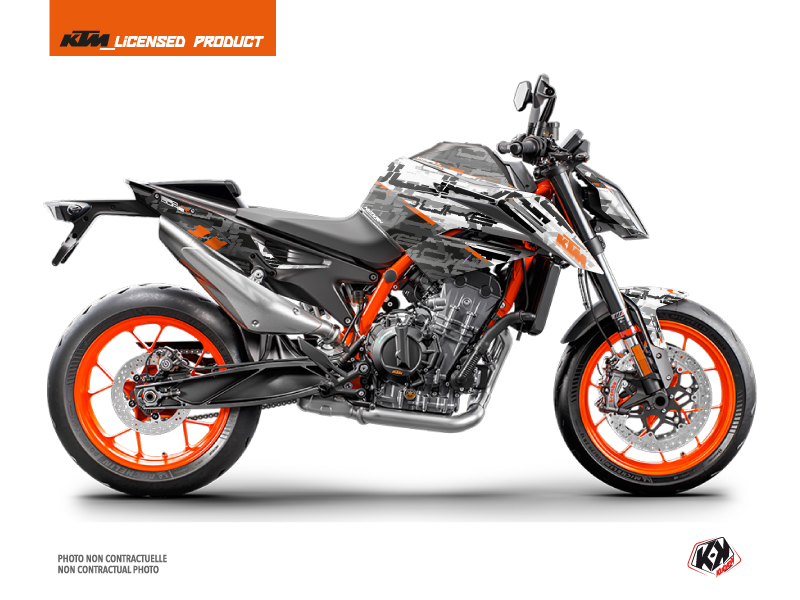 KTM Duke 890 R Street Bike Krav Graphic Kit White Black