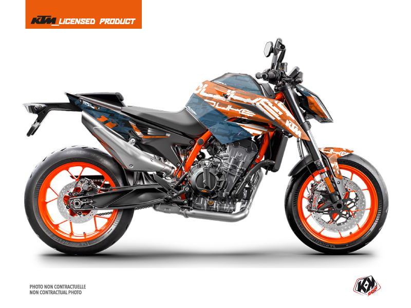 KTM Duke 890 R Street Bike Krav Graphic Kit Orange Blue