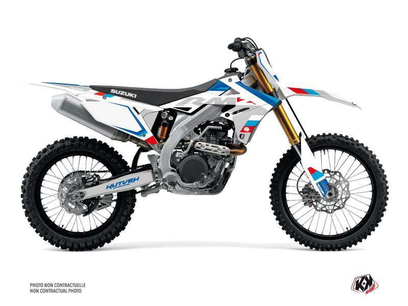 Suzuki 450 RMZ Dirt Bike Label Graphic Kit White