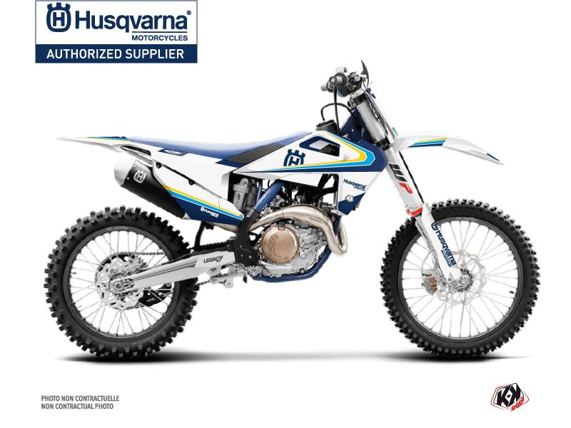 Husqvarna 450 FE Dirt Bike Legacy Graphic Kit Blue Yellow
