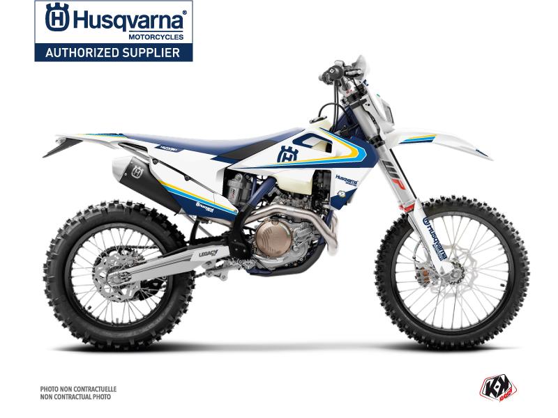 Husqvarna 125 TE Dirt Bike Legacy Graphic Kit Blue Yellow