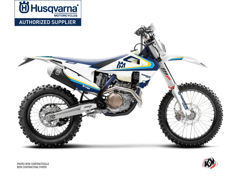 Husqvarna 150 TE Dirt Bike Legacy Graphic Kit Blue Yellow