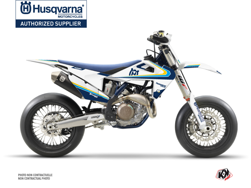 Husqvarna 450 FS Dirt Bike Legacy Graphic Kit Blue Yellow