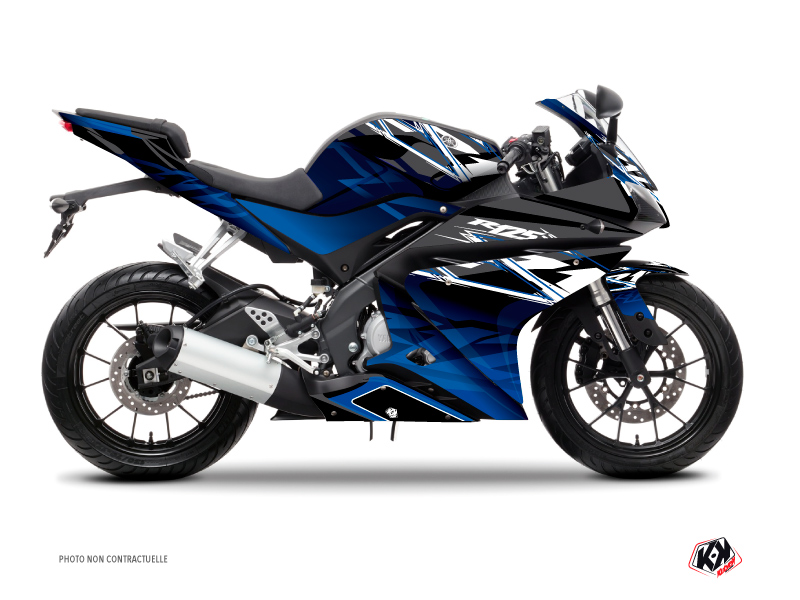 Yamaha R125 Street Bike Mission Graphic Kit Black Blue