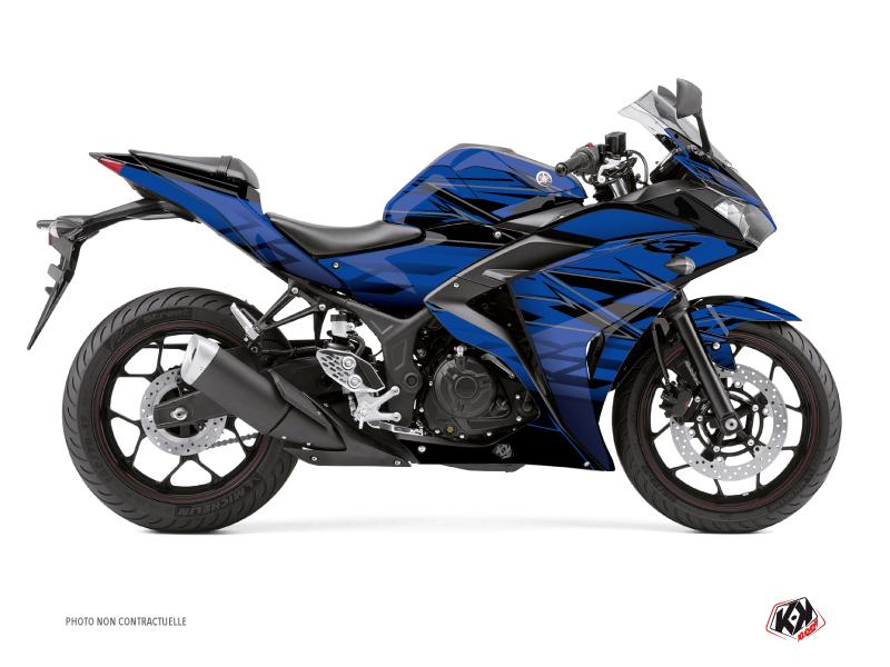 Yamaha R3 Street Bike Mission Graphic Kit Blue Black