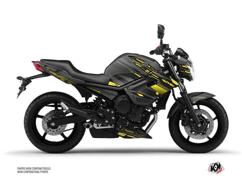 Yamaha XJ6 Street Bike Night Graphic Kit Black Yellow