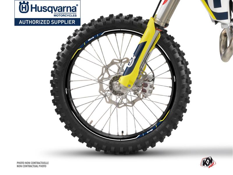 Kit Déco Tour de jantes Nova Moto Cross Husqvarna TC-FC TE-FE Bleu
