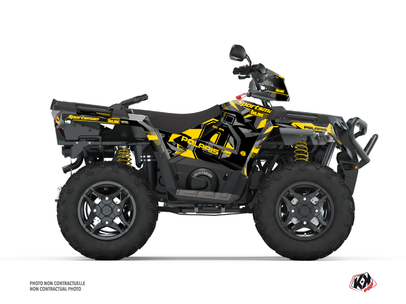 Polaris 570 Sportsman ATV Ohlins Graphic Kit Grey Yellow
