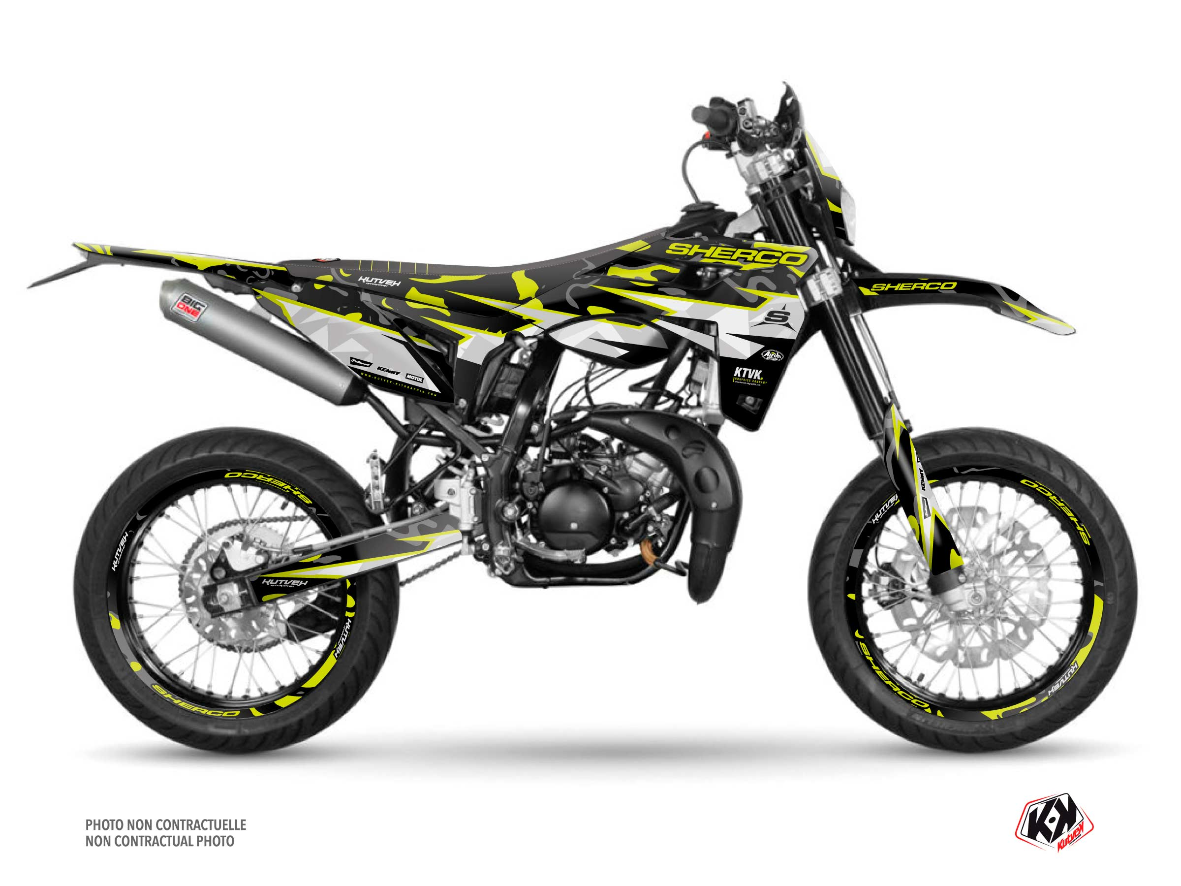 PACK BARBARIAN Graphic Kit + Seat Cover Sherco SM 50 Yellow Neon
