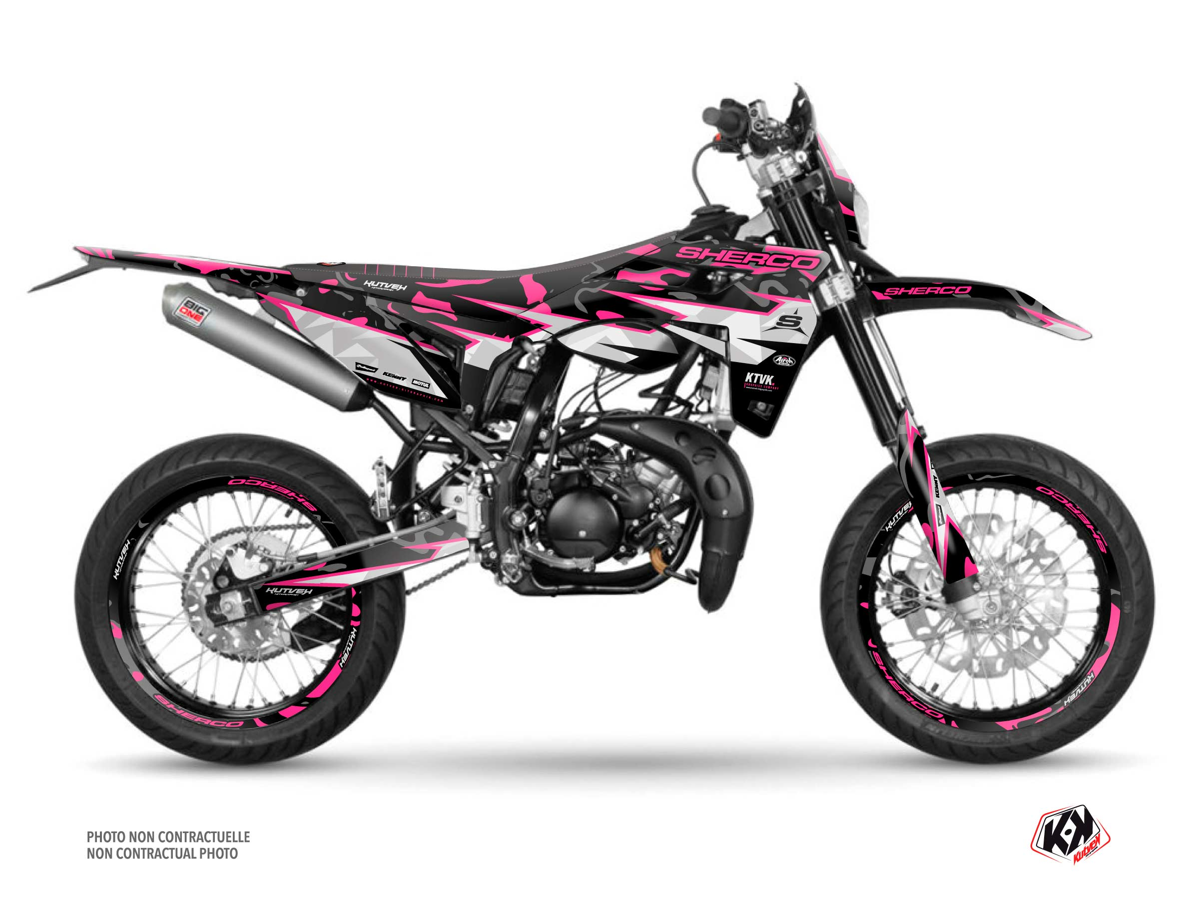 PACK BARBARIAN Graphic Kit + Seat Cover Sherco SM 50 Pink