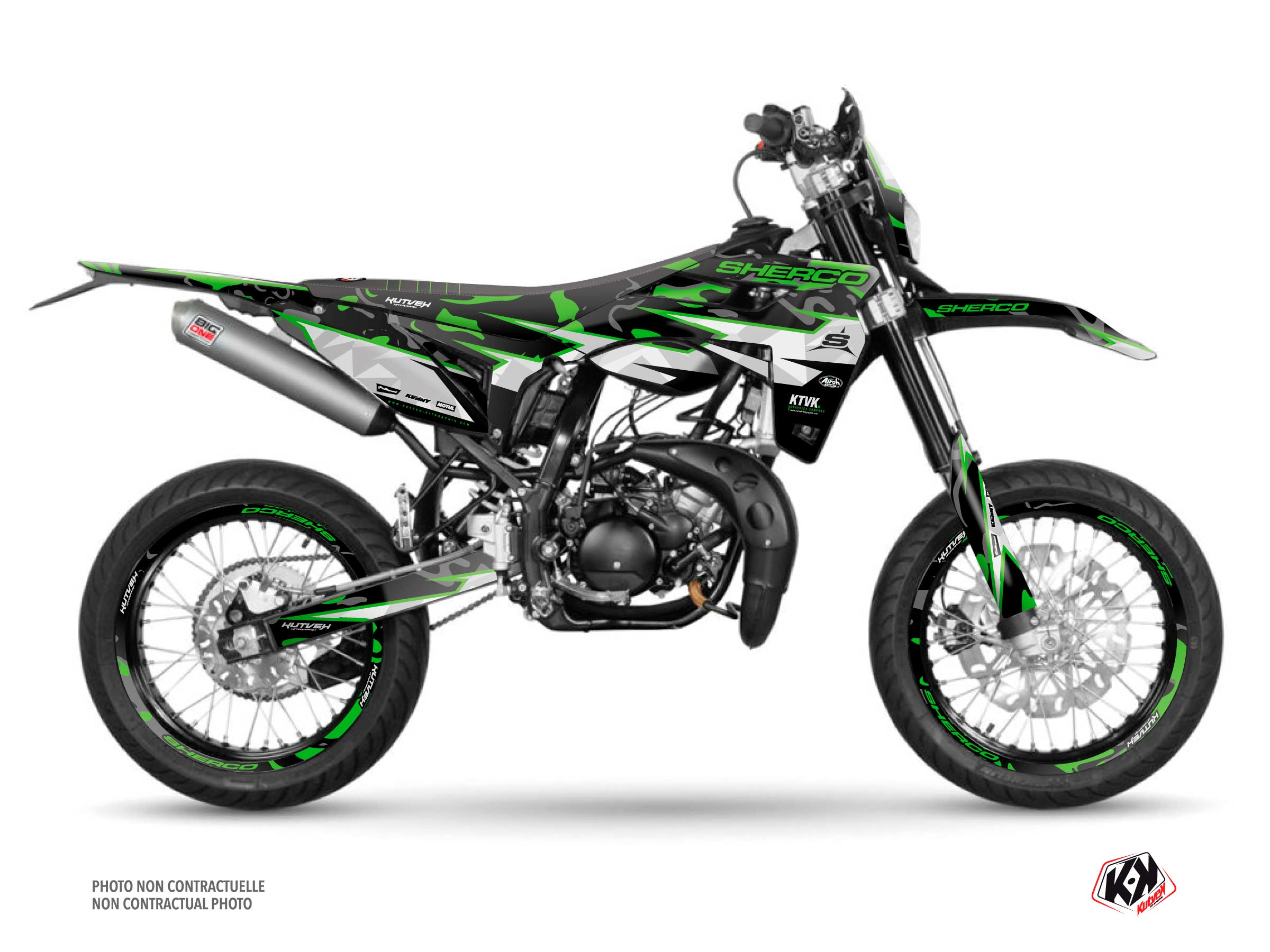 PACK BARBARIAN Graphic Kit + Seat Cover Sherco SM 50 Green