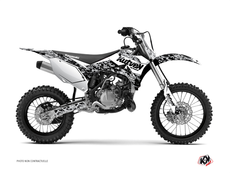 Kawasaki 110 KLX Dirt Bike Predator Graphic Kit White