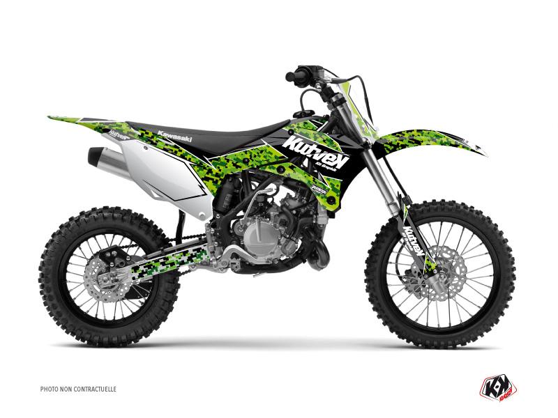 Kawasaki 110 KLX Dirt Bike Predator Graphic Kit Black Green