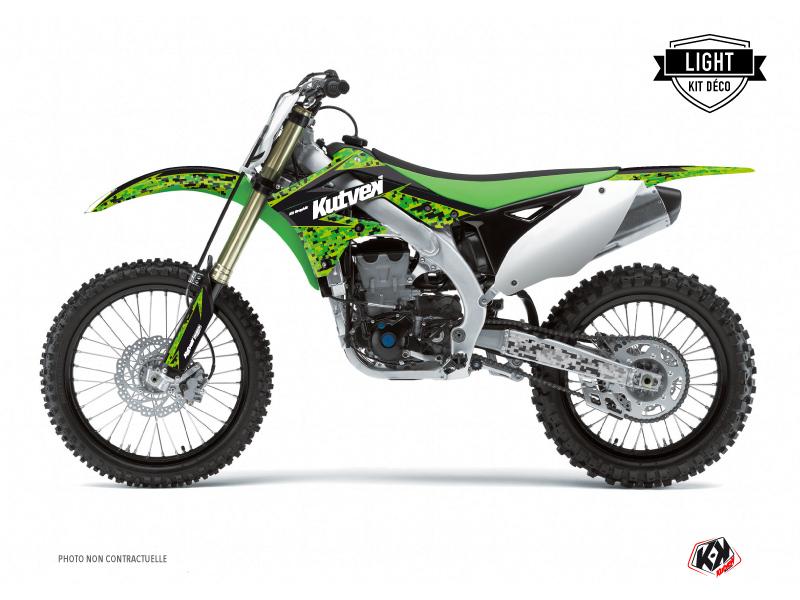 Kawasaki 250 KXF Dirt Bike Predator Graphic Kit Black Green LIGHT