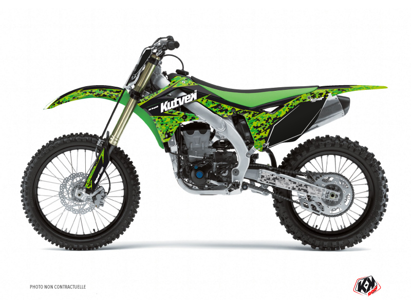 Kawasaki 250 KXF Dirt Bike Predator Graphic Kit Black Green