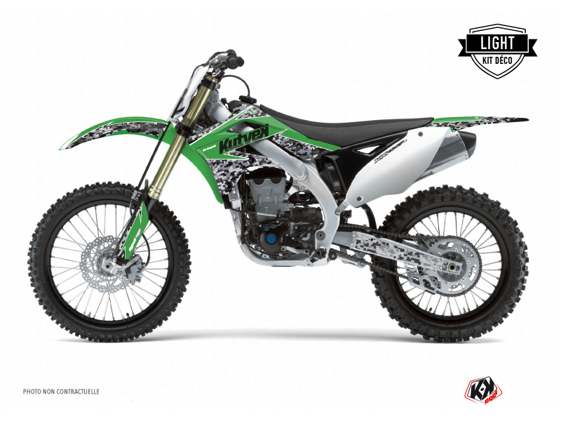 Kawasaki 250 KXF Dirt Bike Predator Graphic Kit Green LIGHT