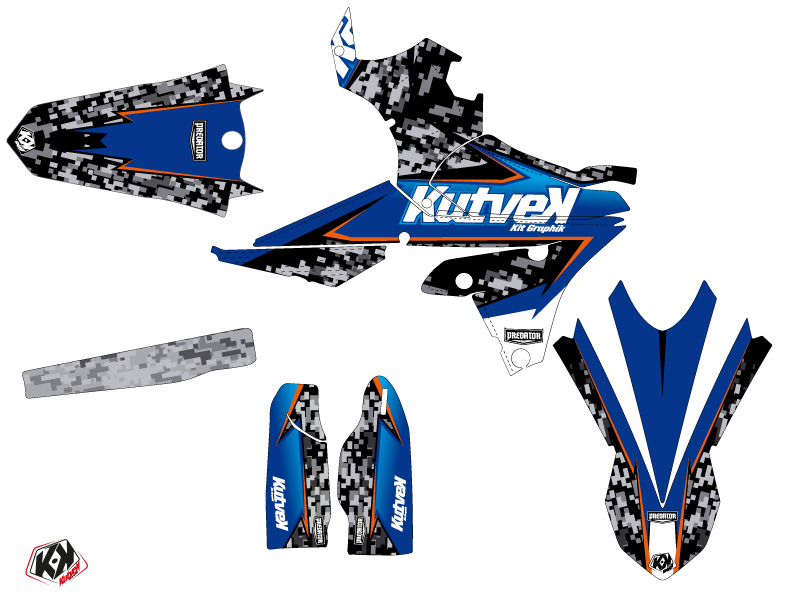 Kit Déco Moto Cross Predator Yamaha 250 WRF Noir Bleu LIGHT