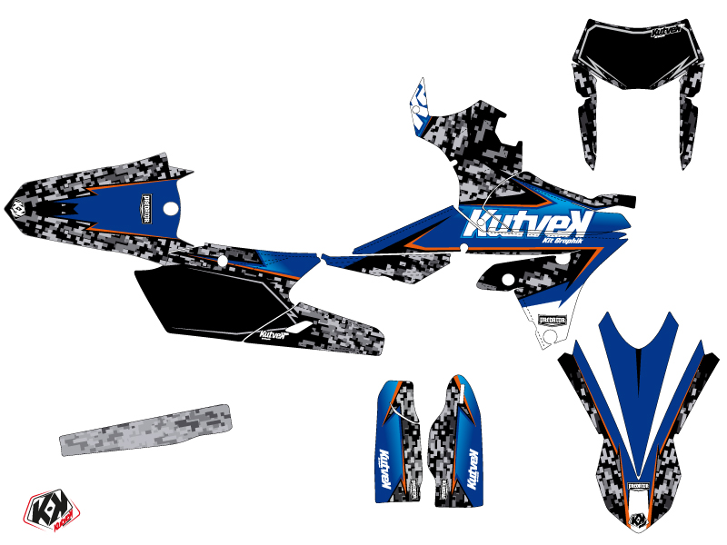 Yamaha 250 WRF Dirt Bike Predator Graphic Kit Black Blue