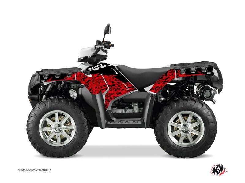 Polaris 550-850-1000 Sportsman Touring ATV Predator Graphic Kit Red Black