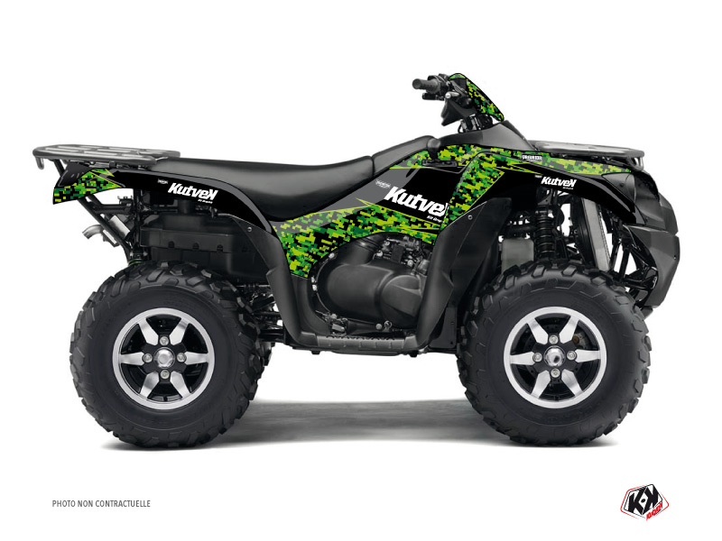 Kawasaki 750 KVF ATV Predator Graphic Kit Black Green