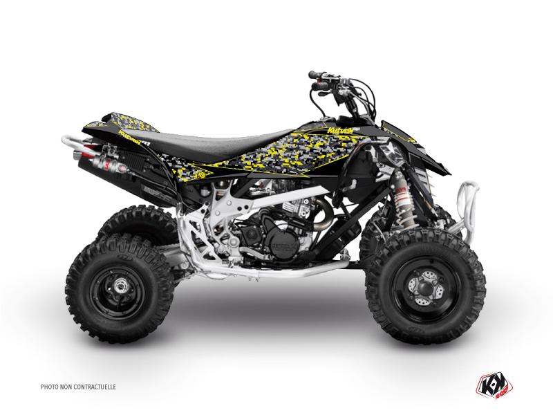 Can Am DS 450 ATV Predator Graphic Kit Black Grey Yellow