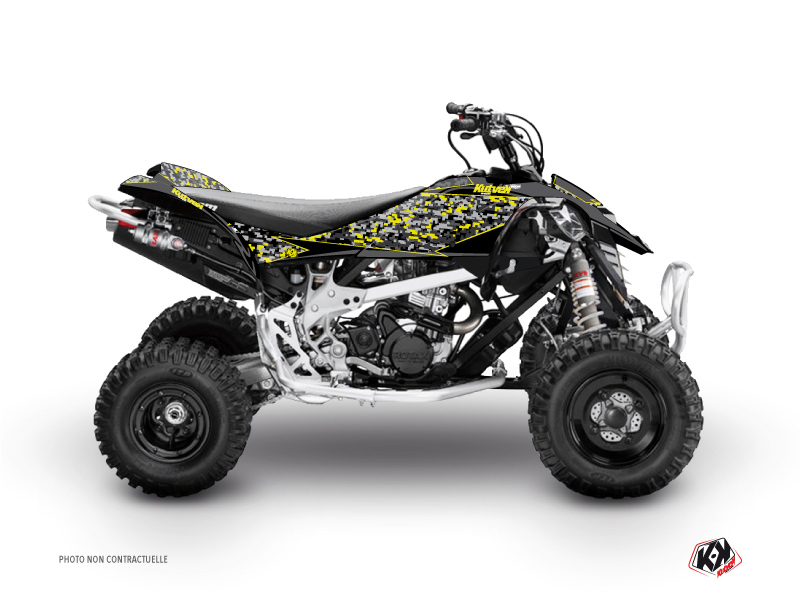 Can Am DS 650 ATV Predator Graphic Kit Black Grey Yellow