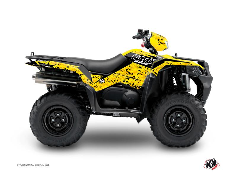 Suzuki King Quad 400 ATV Predator Graphic Kit Black Yellow