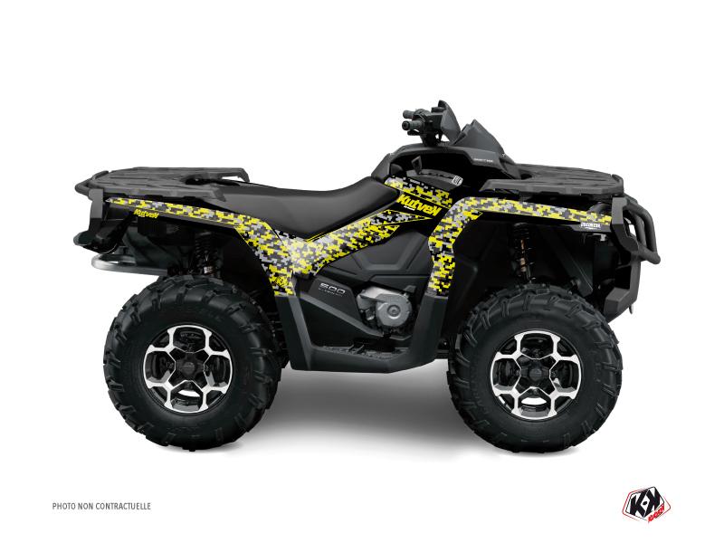 Can Am Outlander 400 XTP ATV Predator Graphic Kit Black Grey Yellow