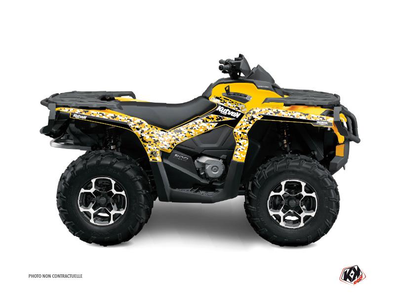 Can Am Outlander 400 XTP ATV Predator Graphic Kit Black Yellow