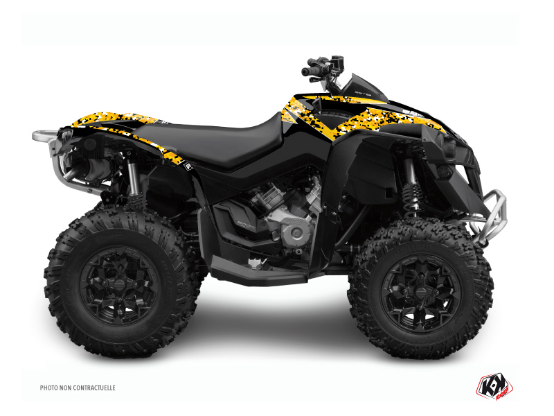 Can Am Renegade ATV Predator Graphic Kit Black Yellow