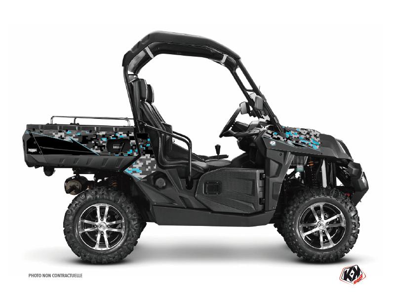 CF Moto U Force 800 UTV Predator Graphic Kit Black Turquoise