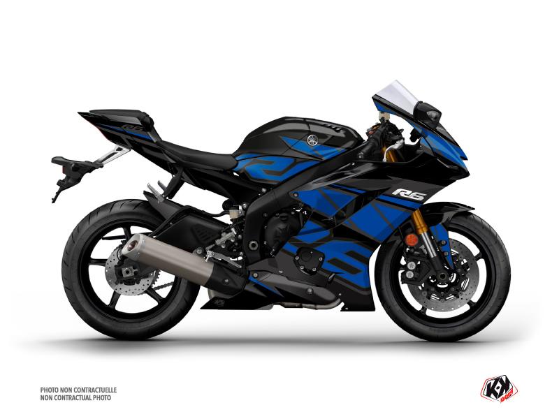 Yamaha R6 Street Bike Replica Graphic Kit Black Blue